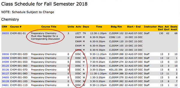 Screenshot of class schedule
