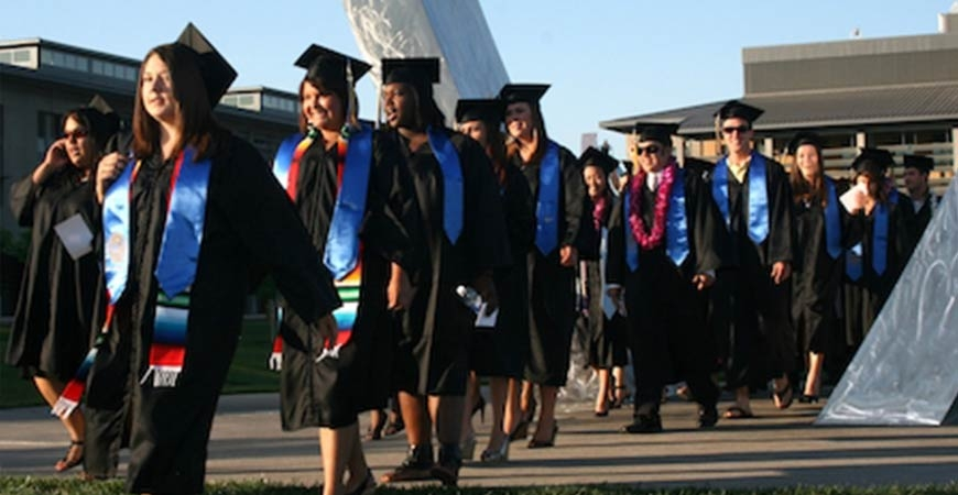 students at graduation walking in a line